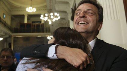 Victoria Donda y Sergio Massa en el Congreso.