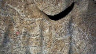 Asombroso. La representación de un caballo en un dibujo raspado en la piedra con herramientas de sílex.