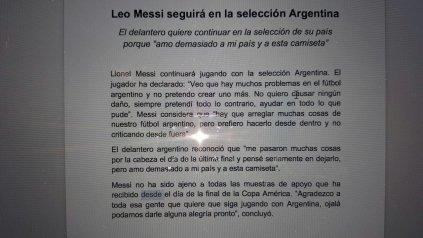 El comunicado oficial de Lionel Messi en el que confirma que vuelve a la selección.