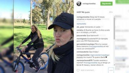 Rocío Guirao Díaz entrena para recuperar su figura, tras el embarazo.