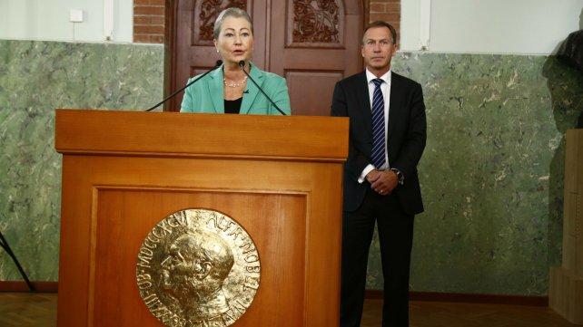 Kaci Kullmann Five, integrante del Comité del Premio Nobel, durante el anuncio que se realizó esta mañana en Oslo.