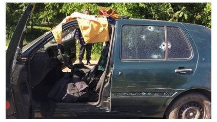 """El auto en el que escapaban Milatich y Mercado, líderes de la """"banda del millón""""."""