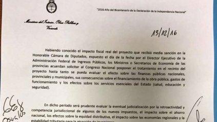 El documento que firmaron los ministros de Hacienda de las provincias con el gobierno nacional.