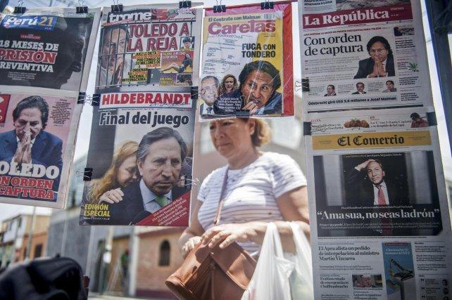 Cobertura. La prensa peruana concentró toda su atención en el affaire Toledo.
