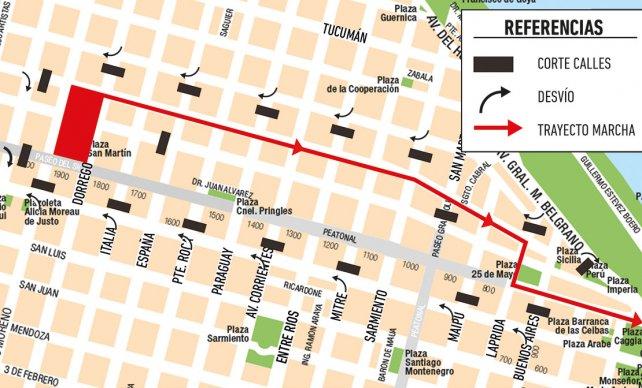 El esquema de tránsito para la marcha de mañana.