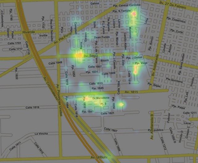 El mapa de las denuncias por disparos en barrio Toba durante 2017.