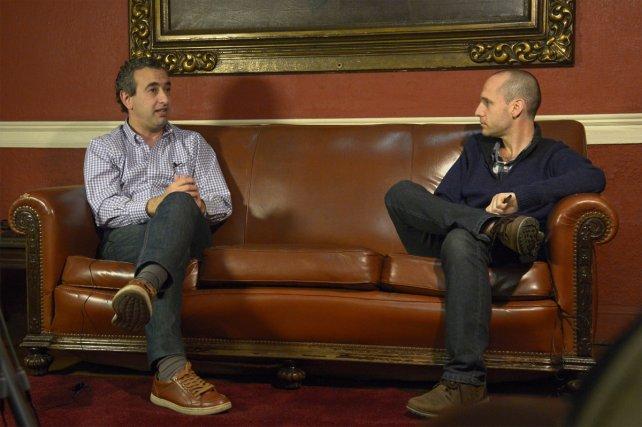 <b>Mano a mano. </b>Pablo Javkin visitó La Capital y tuvo una distendida charla con Guillermo Zysman.