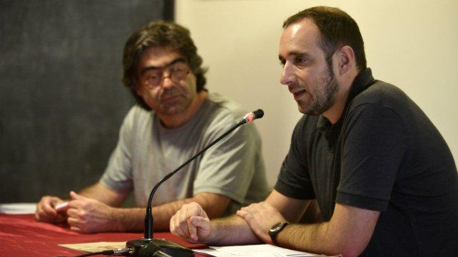 Tatián junto a Agustín Prospitti, de la agrupación docente Nicolás Casullo.