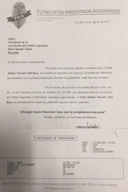 Marchi, en nombre de Agremiados, le mandó una nota a la AFA en la que le informa que Newell's ha normalizado la situación.