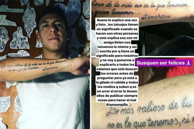 <b>&quot;Si no&quot;. </b>Brian Sarmiento se manifestó en las redes sobre su tatuaje, que generó críticas y burlas.